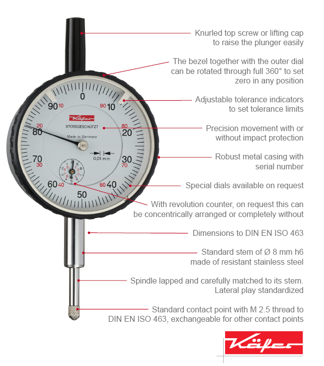 Digital Indicators With Remote Read : Precision dial gauges analogue metric inch käfer